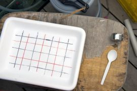 A gridded tray is an important tool used in counting frog eggs.