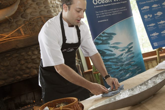Chef Kyle Groves of Catch & the Oyster Bar demonstrates how to shuck Ocean Wise oysters