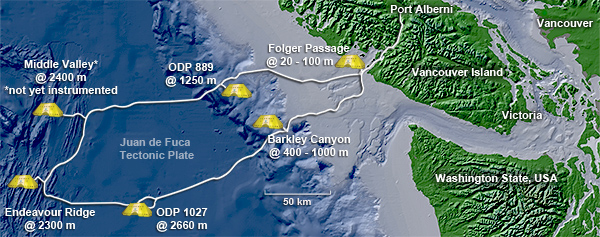 NEPTUNE Canada's regional cabled ocean network. Image credit: NEPTUNE Canada, retrieved June 10, 2013 from http://www.neptunecanada.com/