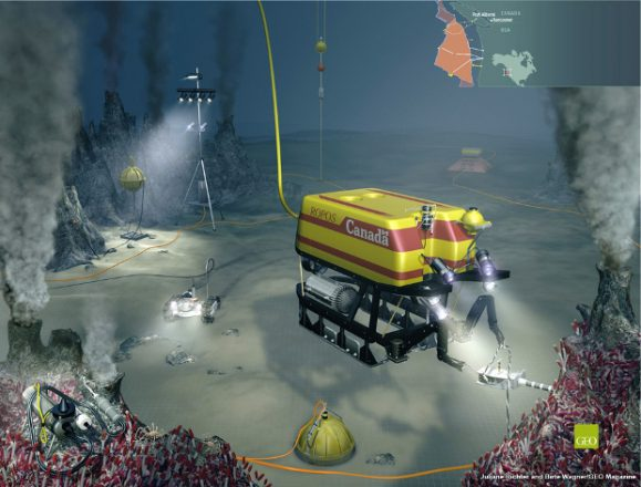 Artist depiction of the NEPTUNE Canada underwater observatory. Image credit: NEPTUNE Canada, retrieved June 10, 2013 from http://www.neptunecanada.ca/about-neptune-canada/