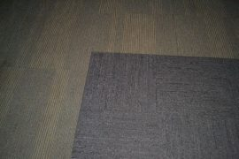 The carpet in the Canaccord gallery is made of square pieces so sections can be replaced easily.