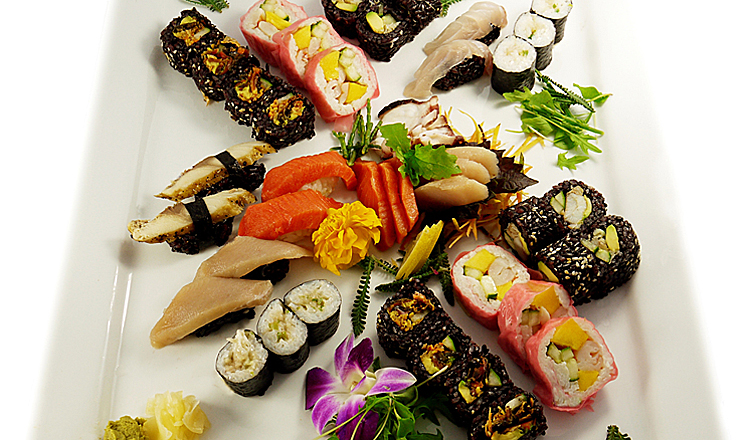 When consuming sushi, it's important to choose sustainable options. Here, a sushi spread is shown from Just Sushi, one of the three sushi venues that went 100 per cent Ocean Wise this year. Photo credit: Just Sushi.