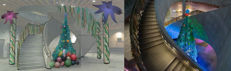 (Left) the rendering of the Marine Debris Christmas Tree; (Right) the real deal.