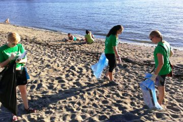 Shoreline cleanup at Celebration of Light