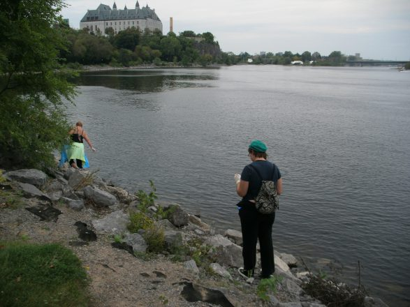 Participants combing the shores of the Ottawa River near Rideau Canal looking for litter.