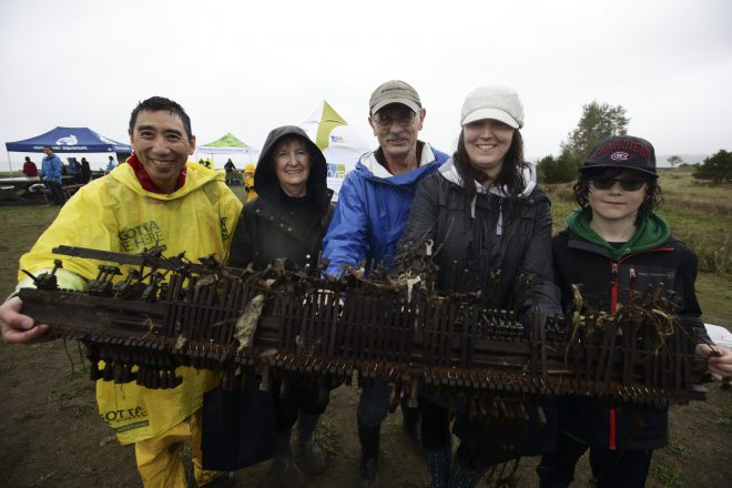 A piano action, the strangest item found during the 2015 Great Canadian Shoreline Cleanup Celebration Event in Richmond, B.C. Photo credit: Canadian Press.