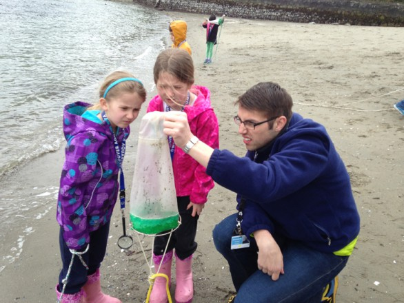 Anna and Abby get up close an personal with some plankton during a beach field trip as part of our Junior Biologists' Club.