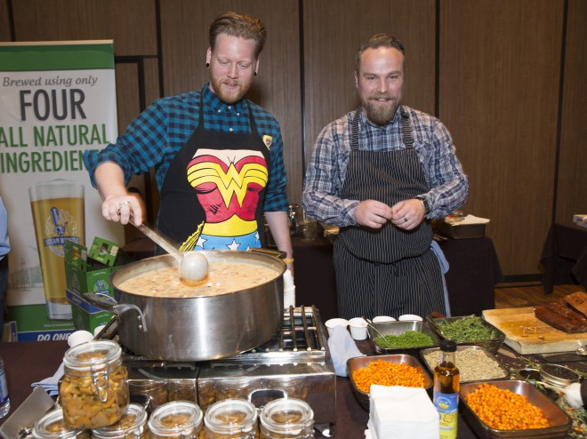 The team from Edmonton's Share Restaurant at the Westin cooks up its winning white sturgeon chowder in Calgary.