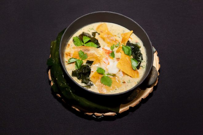 Boulevard Kitchen & Oyster Bar's Roger Ma won over the judges in Vancouver with his lobster miso chowder.