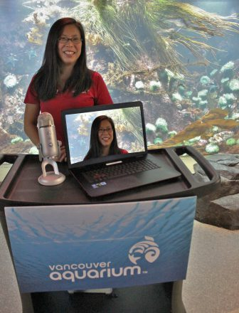 Education co-ordinators like Stephanie Chong can present from almost anywhere in the Aquarium.