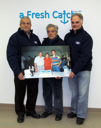 Seacore co-founders, Gerry Battaglia,Tony Cristoforo and Joe Nestico, celebrate their 25th anniversary. Sustainable seafood has come a long way since they first started in 1987, when the photo they're holding was taken. Credit: Seacore Seafood Inc.