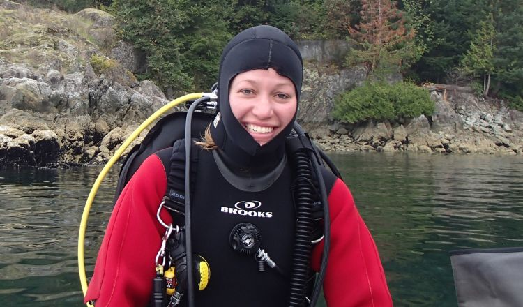 Howe Sound Group researcher Jessica Schultz just before taking the plunge.