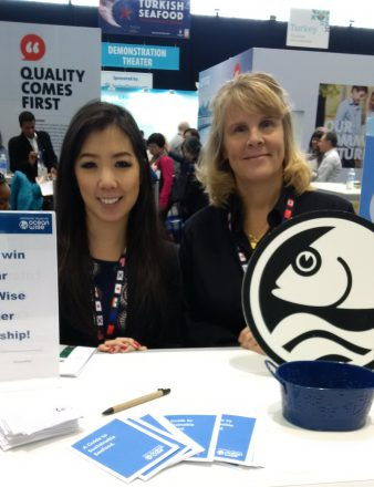 Ocean Wise's Claire Li along with Stacey Venables of the BC Salmon Marketing Council, who are Ocean Wise partners.
