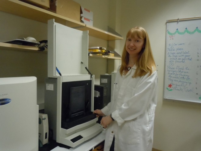 Molecular Biologist, Allyson Miscampbell, worked late into the night to interpret the results of the DNA sequencing machine seen here.