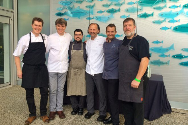 Ocean Wise chef ambassadors at this year's Night At The Aquarium (from left to right: Warren Barr, James Walt, Chris Whitaker, Frank Pabst, Ned Bell and Rob Clark).