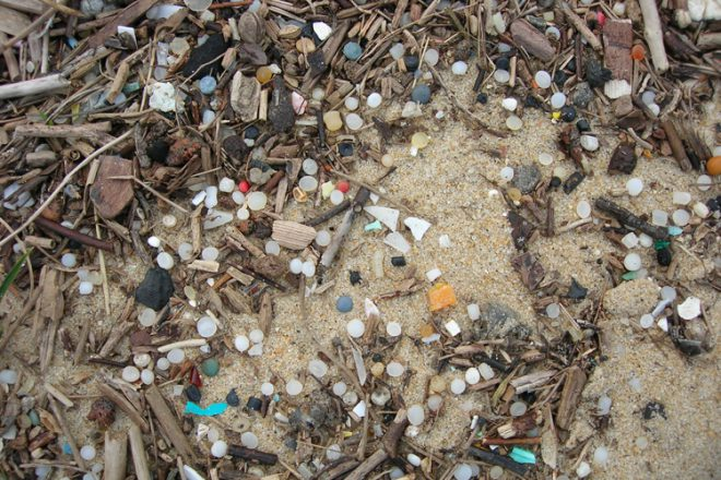 Microplastics on beach