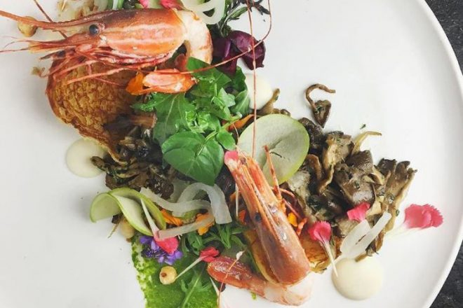 Seasonal spot prawns dish by chef Ned Bell at YEW seafood + bar. Photo credit: Four Seasons Vancouver