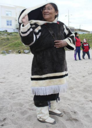 Rosie in her traditional Inuit clothing.