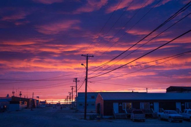 A beautiful sunset over Cambridge Bay.