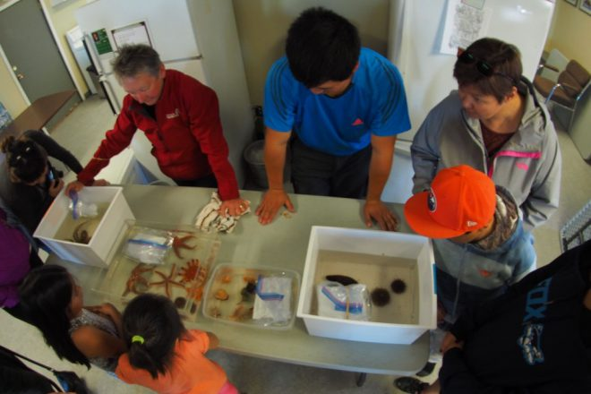 The team showing community members what they collected in their local waters.