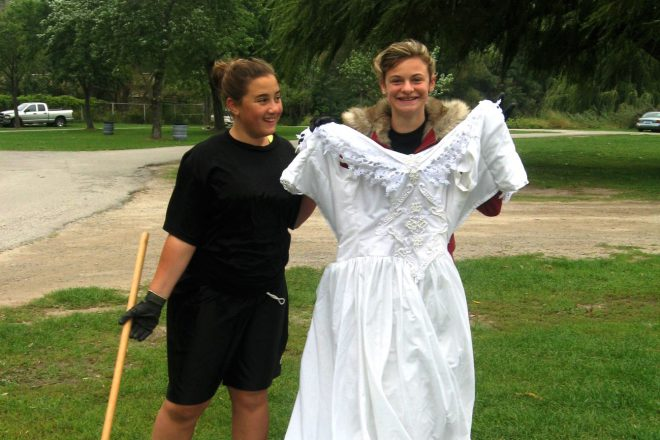 Thousands of items of clothing are found on shorelines - even a wedding dress.