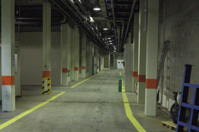 The hallways behind-the-scenes at Oceanografic are wide enough to drive a truck.