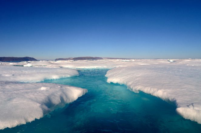 The Arctic ice pack begins to melt in spring time and the water turns a dazzling blue.