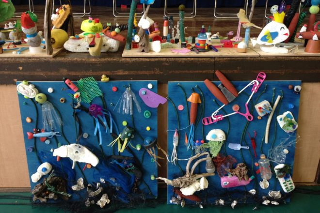 Marine debris art created by local school students after the cleanup in Japan.