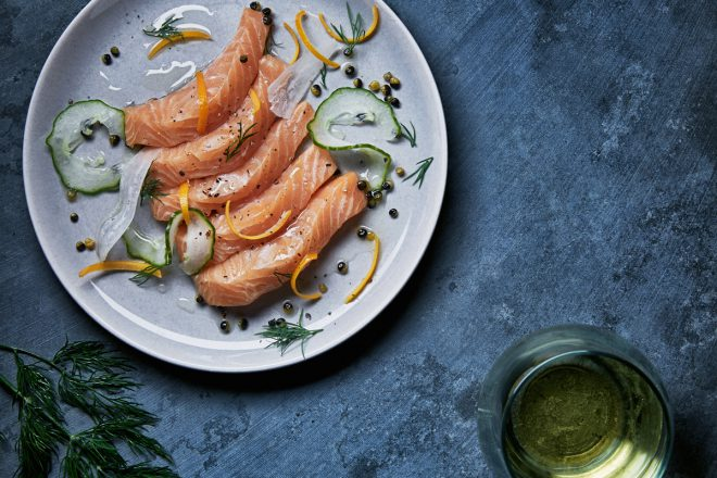Stop by Holt Renfrew to see if this beautiful cured Ocean Wise Arctic char is available in your city. Photo credit: Holt Renfrew