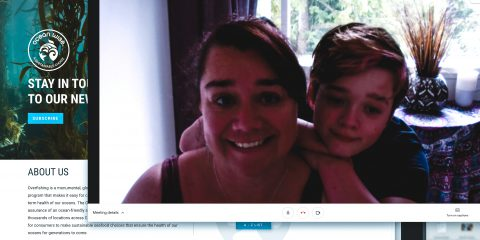 A mother and her son pose in front of the webcam after discussing their positive experience with Ocean Wise's online learning virtual classes about marine life.