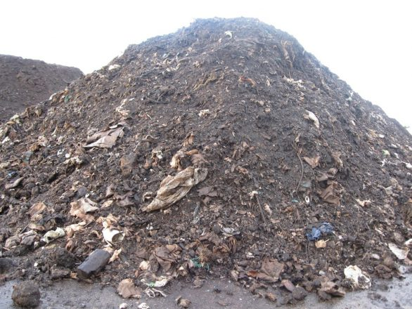 Pictured here is a contaminated compost pile prior to screening.